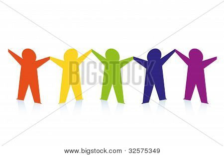 Abstract Colorful Paper People Isolated On White