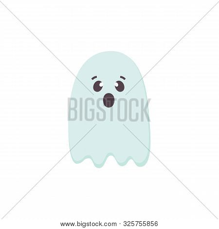 Cute Scared Halloween Ghost Icon. Blue Color Cartoon Character For Helloween Holidays. Printable Fla