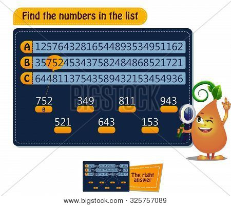 Game Find The Numbers In The List