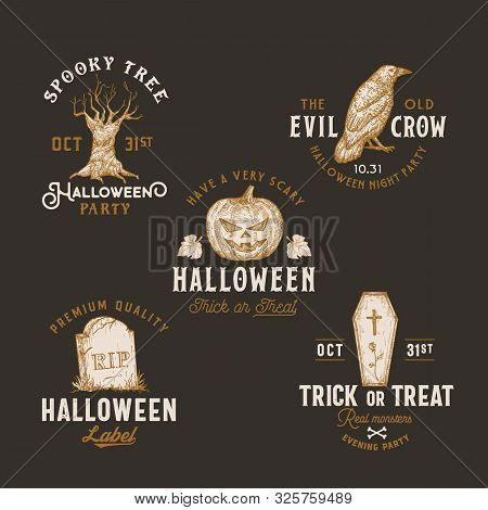 Vintage Style Halloween Logos Or Labels Template Set. Hand Drawn Spooky Tree, Pumpkin, Tomb Stone, C