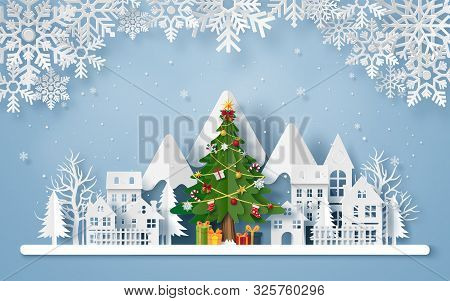 Origami Paper Art Of Christmas Tree In The Village With The Mountain, Merry Christmas And Happy New