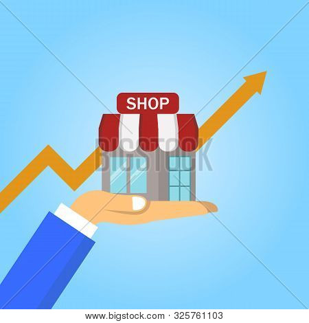 Step Of Hand Collect The Money In Shop Store. Vector Flat Style