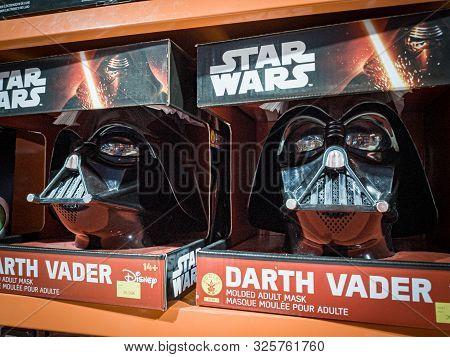 Barcelona, Spain. October 2019: Star Wars Darth Vader Helmet Toy On Shelve In Shopping Mall.
