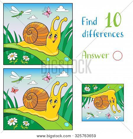 Mother Duck And Ducklings In A Meadow With Butterflies. Find 10 Differences. Educational Game For Ch
