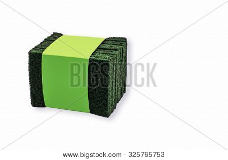 Green Scouring Pads Tied Up White Background Washing Up Rough Texture