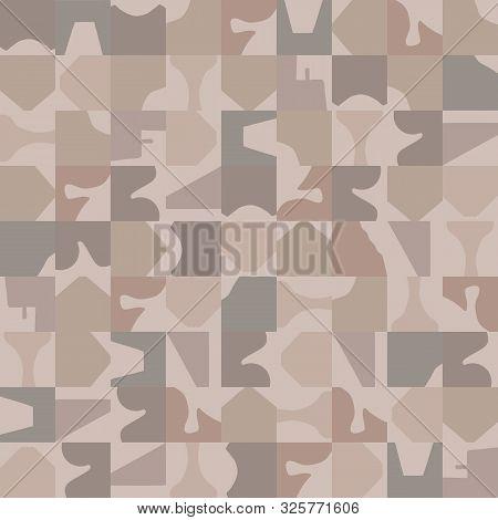 Hand Drawn Abstract Camouflage Seamless Pattern. Modern Textile Hand Drawn In Brown, Gray, Ecru Neut