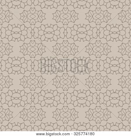 Hand Drawn Damask Stripe Seamless Pattern. Modern Japanese Medallion Motif On Moody Dark Brown. Ecru