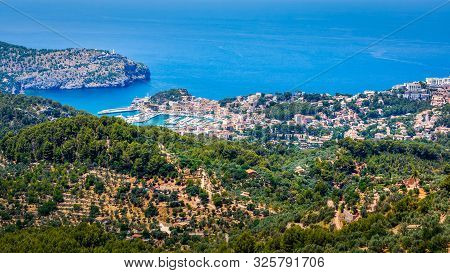 Panoramic View On The Beautiful Bay Of Port De Soller From High View Point, Mallorca, Spain