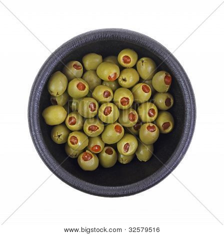 Stuffed Olives In Black Bowl