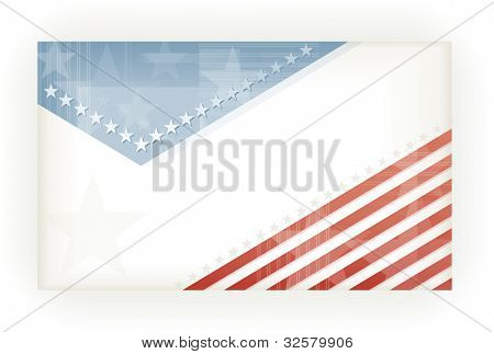 US American flag themed background, business, or gift card using pale blues and reds. Space for your text, vector version available.