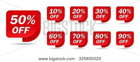 Discount Sale Off Tag, 50, 20, 10, 40, 30, 60, 70, 80, 90 Percent.set Sale Offer Emblem, Badge Price