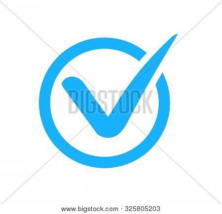 Check Mark Correct Icon. Blue Checkmark In Circle For Checklist. Ok Button, Checkbox Flat Style Isol