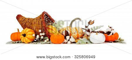 Thanksgiving Cornucopia Filled With Autumn Vegetables, Pumpkins And Fall Decor Isolated On A White B