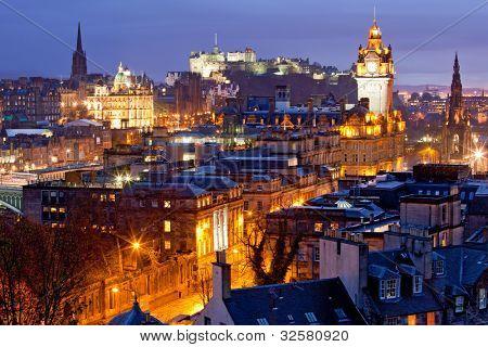 Edinburgh Skylines building and castle from Calton Hill at dusk Scotland UK