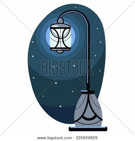Isolated Illustration Of A Vintage Lamppost In The Night, Against The Stars.