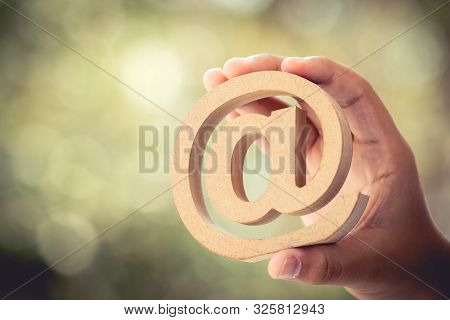 Email Address Wooden In Business Hands. Connection Symbol For Contact Customer By Technology. Electr