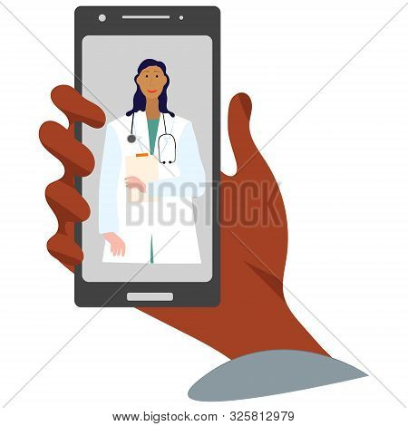 Hand Holding Smartphone With Female Virtual Doctor.