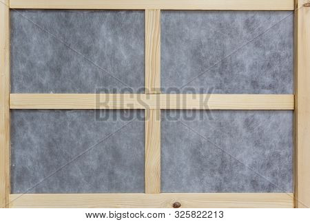 Windows Frame Made From Wood Pallet And Paper With Four Blocks In The Home.