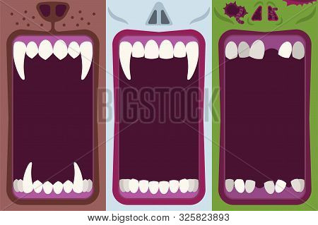 Halloween Banners Set With Opening Mouths Ready To Bite Of Werewolf, Vampire And Zombie In Flat Cart