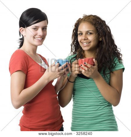 Two Girls With Coffee Cups