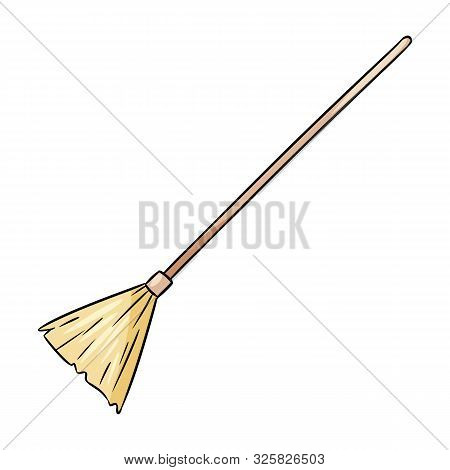 Cute Broomstick Besom Doodle. Happy Halloween Related Icon - Magic Broom. Vector Isolated Symbol. Ca