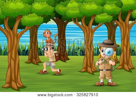 The Scout Boys Exploring In Forest Illustration