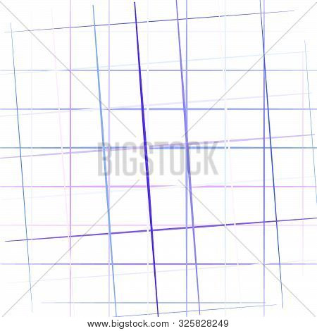 Colorful Grid, Mesh In Square Format. Random, Scattered Intersecting Lines, Stripes. Geometric Backg