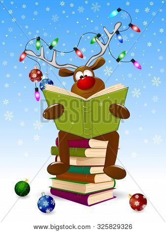 Cartoon Deer Reads A Book For Christmas. A Deer With A Book And With Christmas Decorations On A Wint