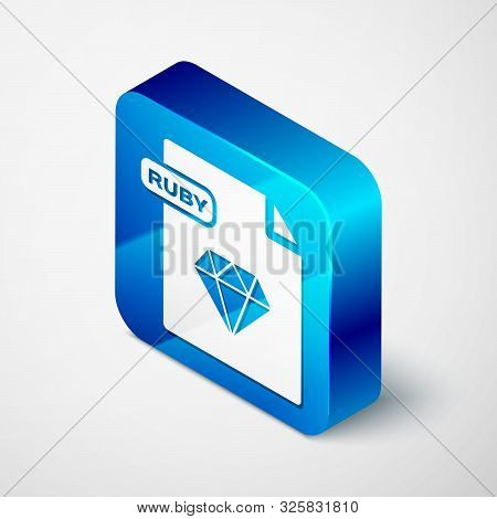 Isometric Ruby File Document. Download Ruby Button Icon Isolated On White Background. Ruby File Symb