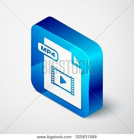 Isometric Mp4 File Document. Download Mp4 Button Icon Isolated On White Background. Mp4 File Symbol.