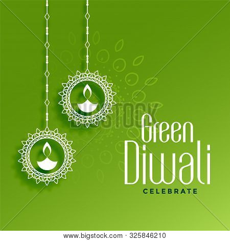 Eco Friendly Green Diwali Concept With Hanging Diya Decoration