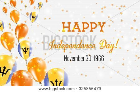 Barbados Independence Day Greeting Card. Flying Balloons In Barbados National Colors. Happy Independ