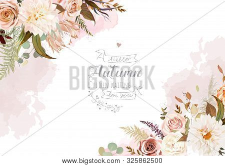 Moody Boho Chic Wedding Vector Design Frame. Warm Fall And Winter Tones. Orange, Taupe, Brown, Cream