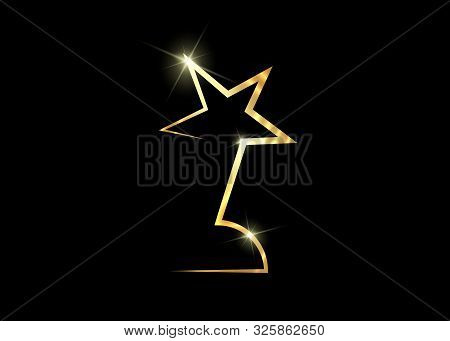 HOLLYWOOD Oscars Movie PARTY Gold Glitter STAR AWARD Statue Prize Giving Ceremony. Golden stars prize icon concept, Silhouette statue icon. Films and cinema symbol stock, Academy award vector isolated or black background