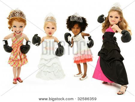 Group Of Beauty Pageant Girls Fighting For The Crown Wearing Boxing Gloves Over White Background