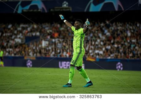 VALENCIA, SPAIN - OCTUBER 2: Onana during UEFA Champions League match between Valencia CF and AFC Ajax at Mestalla Stadium on Octuber 2, 2019 in Valencia, Spain