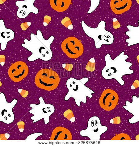 Halloween Pattern. Vector Seamless Background Texture With Cute Smiling Orange Pumpkins, Spooky Ghos