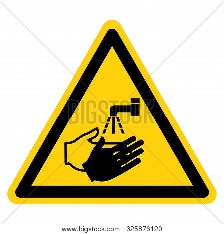 Warning Wash Your Hand Symbol Sign,vector Illustration, Isolated On White Background Label. Eps10