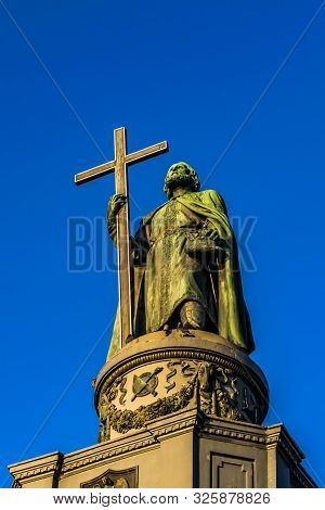 The Monument Of Volodymyr The Great On The Hill In Kyiv City
