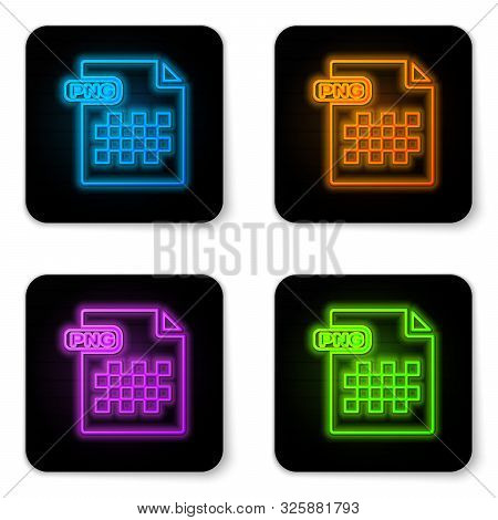 Glowing Neon Png File Document. Download Png Button Icon Isolated On White Background. Png File Symb