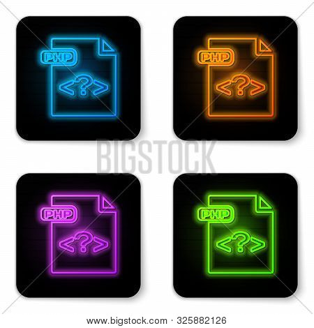 Glowing Neon Php File Document. Download Php Button Icon Isolated On White Background. Php File Symb