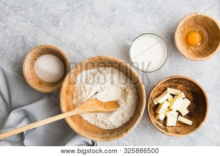 Baking Concept, Baking Ingredients On Background. Ingredients For Baking Cake, Cookies, Bread Or Pas
