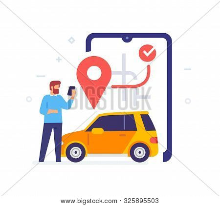 Man Calls A Taxi Through The App Icon, Illustration. Smartphones Tablets User Interface Social Media