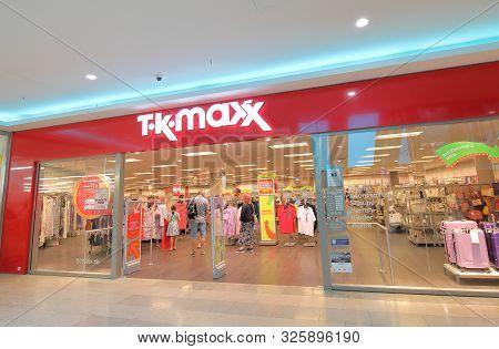 Berlin Germany - June 11, 2019: Unidentified People Visit Tk Maxx Clothes Shop Berlin Germany
