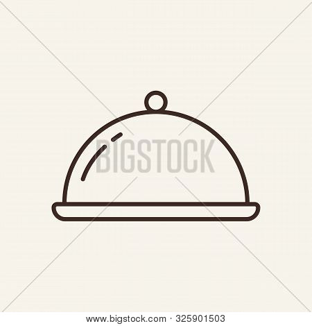 Hotplate Line Icon. Plate, Cover, Warmth. Restaurant Business Concept. Vector Illustration Can Be Us
