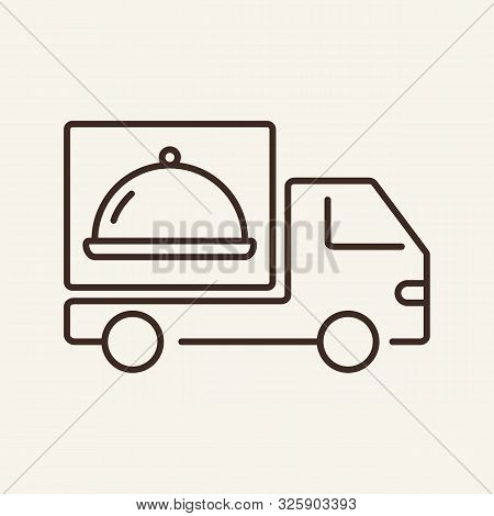 Truck With Hotplate Line Icon. Delivery, Truck, Courier. Restaurant Business Concept. Vector Illustr