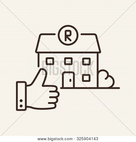 Restaurant And Thumb Up Line Icon. Building, Assessment, Feedback. Restaurant Business Concept. Vect