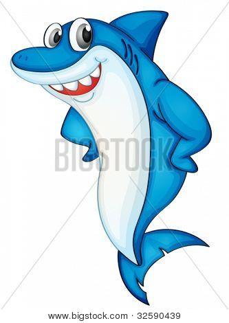 Comical shark character on white