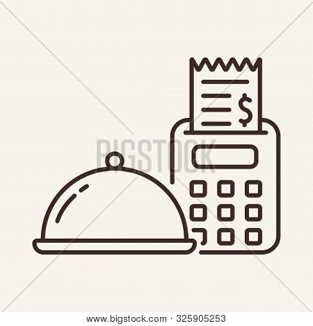 Hotplate And Cash Machine Line Icon. Cheque, Bill, Tips. Restaurant Business Concept. Vector Illustr