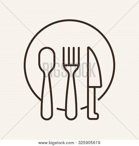 Plate And Flatware Line Icon. Dish, Utensils, Serving. Restaurant Business Concept. Vector Illustrat